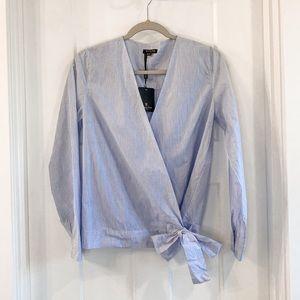 Massimo Dutti Blue White Striped Wrap Blouse 6 NWT